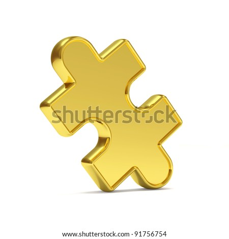 Golden Puzzle Piece on white background - stock photo