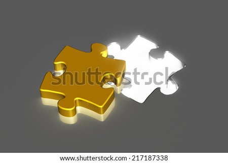golden puzzle piece with bright hole on gray ground - stock photo