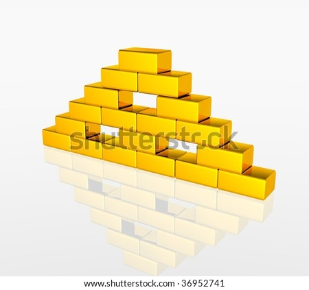 golden pyramid - stock photo