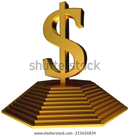 golden pyramid and gold dollar symbol over white - stock photo