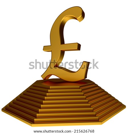 golden pyramid and gold pound sterlings symbol over white - stock photo
