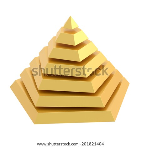 Golden pyramid divided into seven segment layers, isolated over the white background - stock photo