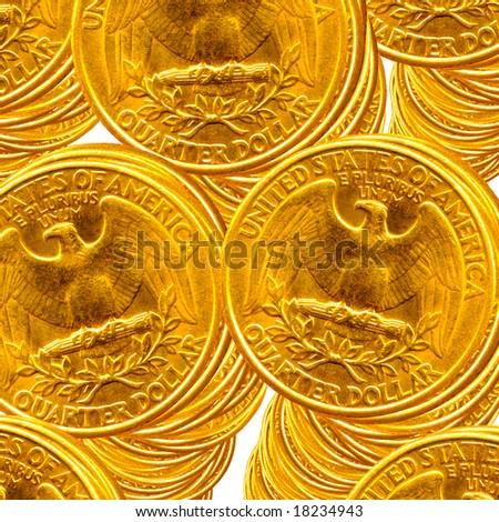 Golden quarter dollar piles over white background - stock photo