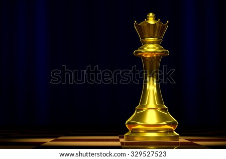 Golden Queen on a chessboard background luxury.