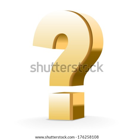 golden question mark isolated white background - stock photo