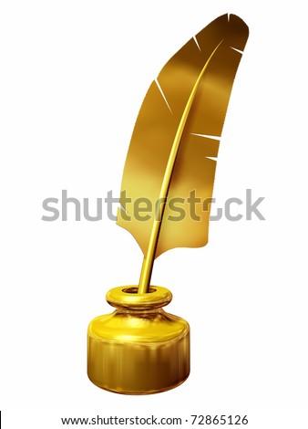 golden quill pen - stock photo