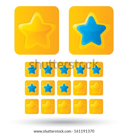 Golden rating stars. Golden star icon on white background. Five-pointed shiny star for rating. Rounded corners. - stock photo