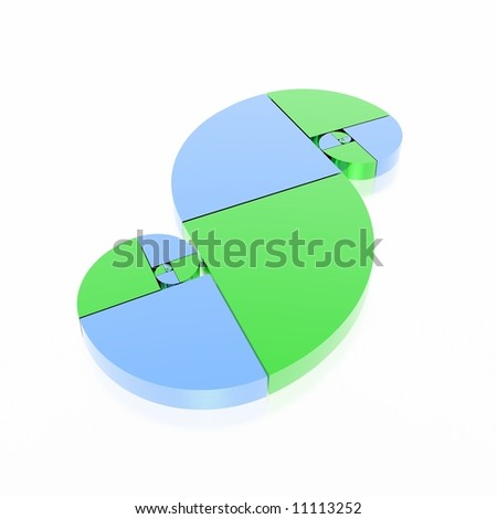 golden ratio (green & blue set) - stock photo