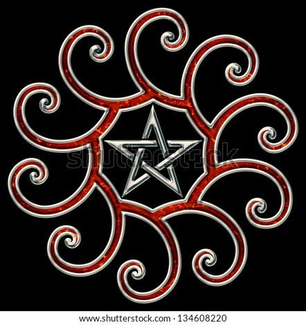 Golden ratio, pentagram, fibonacci spirals - isolated on black background - stock photo