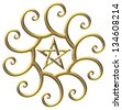 Golden ratio, pentagram, golden spiral - isolated on black background - stock photo