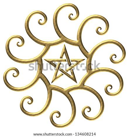 Golden ratio, pentagram, golden spiral - isolated on black background - stock photo