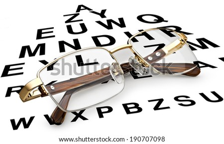 Golden reading glasses with eye chart - stock photo