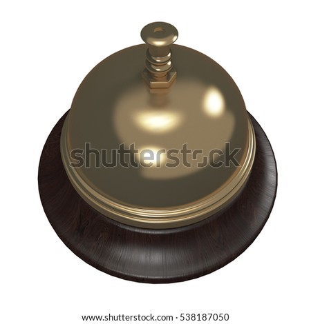 Golden  Reception Bell isolated on white