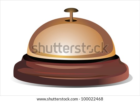 Golden reception bell isolated on white background - stock photo