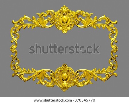 golden, rectangle frame with baroque ornaments - stock photo