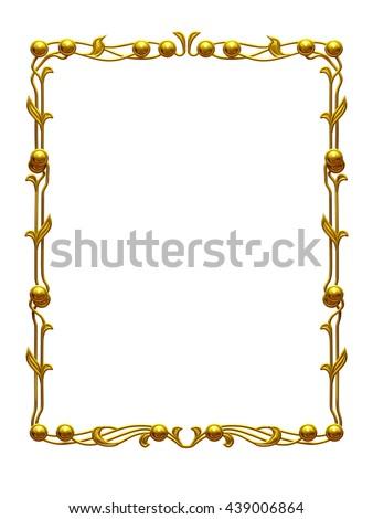 golden, rectangular, ornamental Frame, art deco style, 3d Illustration - stock photo