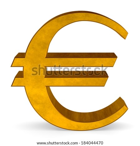 Golden reflective euro sign isolated on white front view