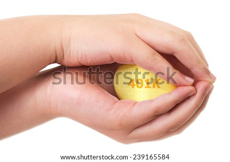 Golden retirement fund concept with golden egg  - stock photo
