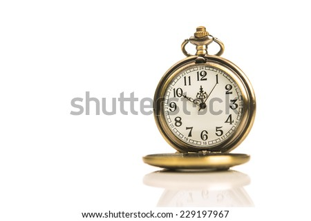 golden retro stopwatch isolated on white background
