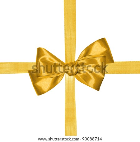 golden ribbon and bow isolated on white background - stock photo