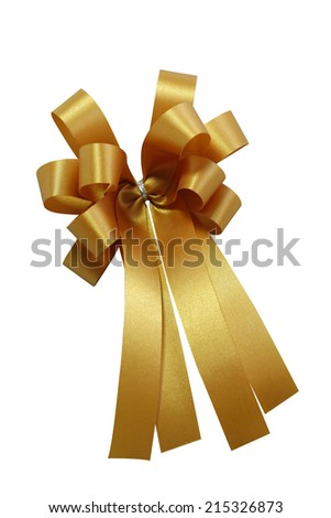 Golden ribbon and bow on a gift box in festivals such as Christmas and New Year.