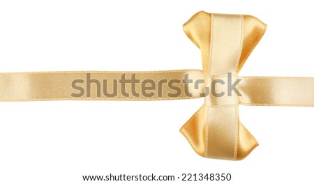 Golden ribbon and golden bow isolated on white
