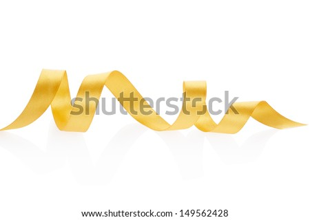Golden ribbon border isolated on white, clipping path included - stock photo