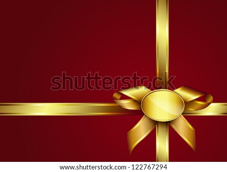 Golden ribbon bow and label on red invitation card. Design for gift card or present box with copy space foe text. Raster illustration. Vector file included in portfolio