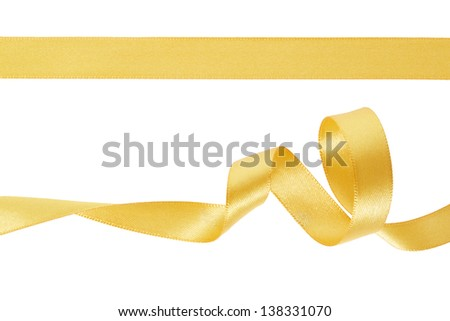Golden ribbon set on white, clipping path included - stock photo