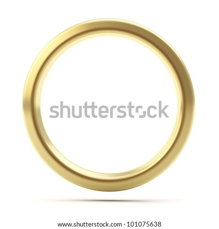 Golden ring copyspace torus isolated on white - stock photo