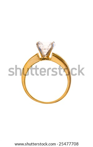 Golden ring isolated on the white background