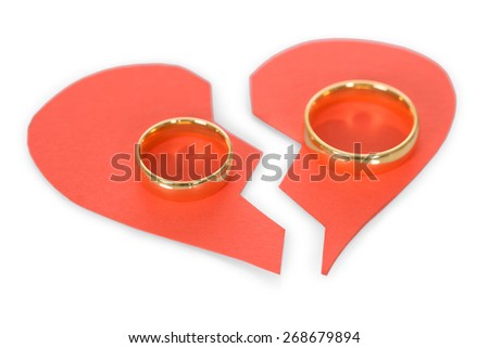 Golden Ring On Red Broken Heart Over White Background - stock photo