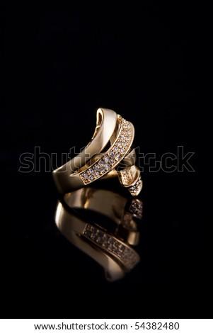 Golden Ring. Studio Photo. - stock photo