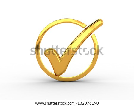 Golden ring with check mark - stock photo