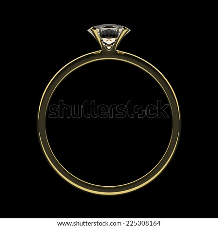 Golden ring with diamond. Dark key.