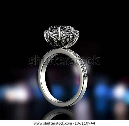 Golden Ring with Diamond isolated on black background