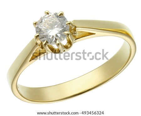 Golden ring with diamond isolated on white background
