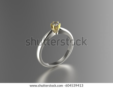 Golden ring with Diamonds. Jewelry background. Fashion luxury accessories. 3D illustration