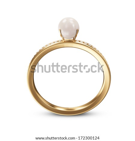 Golden ring with pearls isolated on a white background