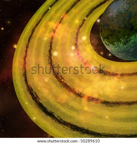 GOLDEN RINGS - A golden ring system encircles this planet out in the galaxy. - stock photo