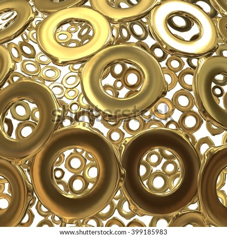 Golden rings background. 3d illustration