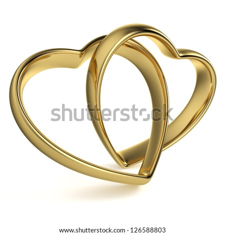 Golden rings in the shape of a heart linked together on white background. Computer generated image with clipping path.