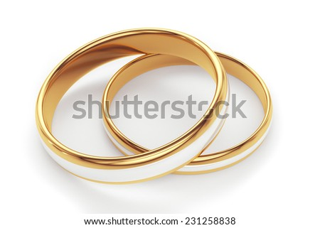 Golden rings isolated on white background - stock photo