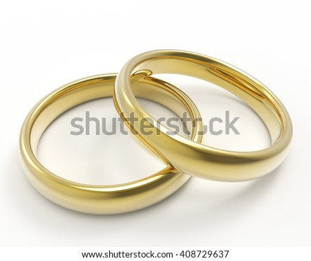 Golden rings isolated on white background. Wedding rings 3D render.