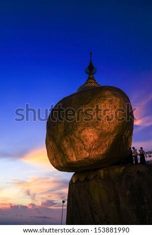Golden rock pagoda,Myanmar - stock photo