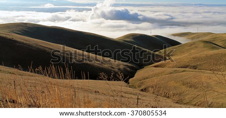 Golden Rolling Farm Fields with Thick Clouds in the Background