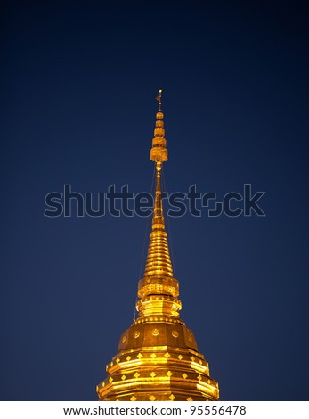 Golden roof of stupa in Doi Suthep Wat in Chiang Mai