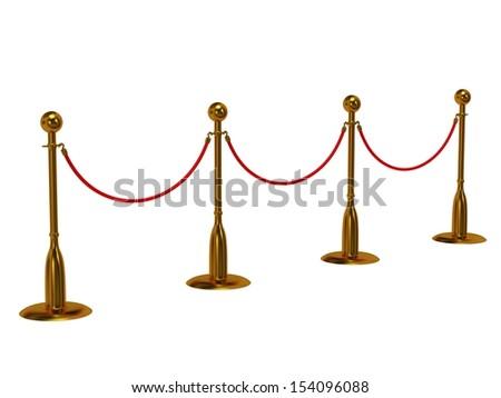 Golden rope barrier over white - 3d render - stock photo