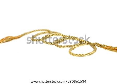 golden rope isolated on white background