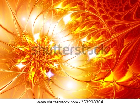 Golden rose. Bright abstract flower with brilliant effect. Sparkle red and yellow beautiful summer background for creative design for wallpaper, poster, cover booklet, flyer. Fractal artwork - stock photo